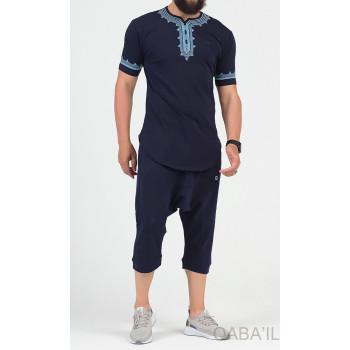 Ensemble Etniz - T-Shirt et Saroual - Bleu Nuit - Qaba'il : Manches Courtes et Pantacourt