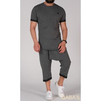Sarouel et T-shirt gris anthracite, ensemble Qaba'il : Nautik New 2021