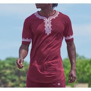 T-Shirt Etniz Bordeaux - Motif Oriental Brodé - Qaba'il : Manches Courtes New 2021
