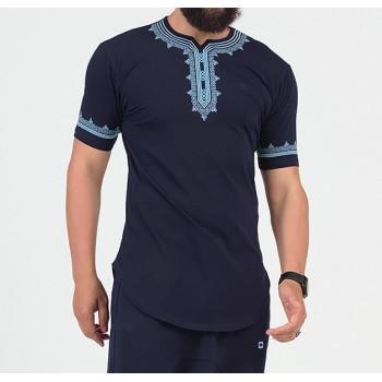 T-Shirt Etniz Bleu Nuit - Motif Oriental Brodé - Qaba'il : Manches Courtes New 2021