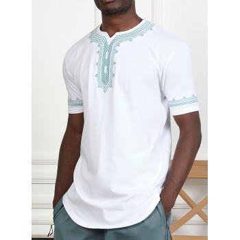 T-Shirt Etniz Blanc - Motif Oriental Brodé - Qaba'il : Manches Courtes New 2021