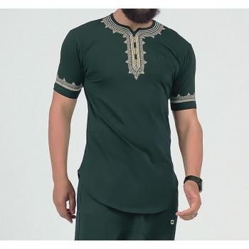 T-Shirt Etniz Vert Bouteille - Motif Oriental Brodé - Qaba'il : Manches Courtes New 2021