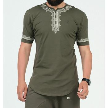 T-Shirt Etniz Kaki - Motif Oriental Brodé - Qaba'il : Manches Courtes New 2021