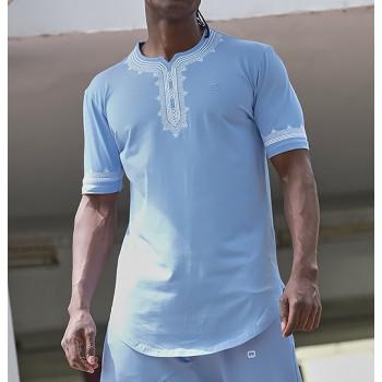 T-Shirt Etniz Bleu Clair - Motif Oriental Brodé - Qaba'il : Manches Courtes New 2021