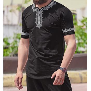 T-Shirt Etniz Noir - Motif Oriental Brodé - Qaba'il : Manches Courtes New 2021