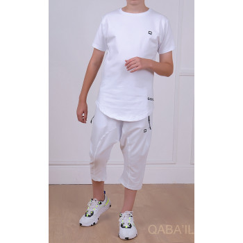 Ensemble Nautik Kid - Blanc - Sarouel + T-Shirt de 3 à 16 ans - Qaba'il