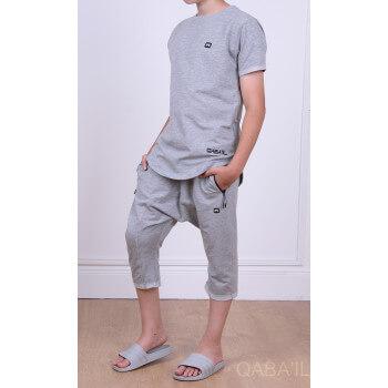 Ensemble Nautik Kid - Gris Clair - Sarouel + T-Shirt de 3 à 16 ans - Qaba'il