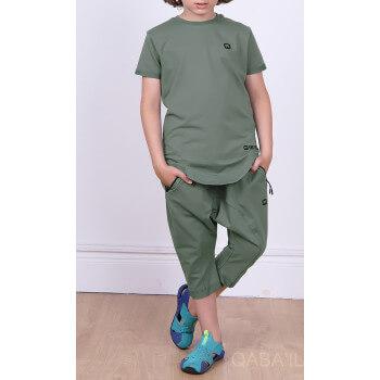 Ensemble Nautik Kid - Vert Kaki - Sarouel + T-Shirt de 3 à 16 ans - Qaba'il