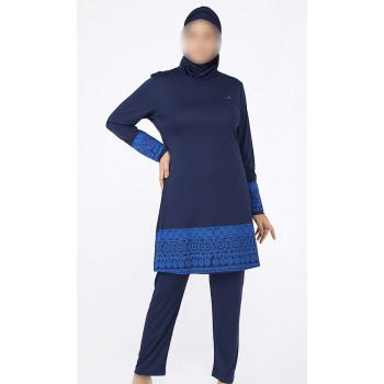 Burkini Lycra Size Plus - Bleu - Plage et Sport