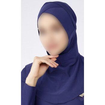 Hijab Multisport - Bonnet Croisé Intégré - Bleu - Plage et Sport