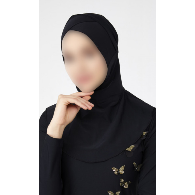 Hijab Multisport - Bonnet Croisé Intégré - Noir - Plage et Sport