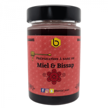 Miel et Bissap - Miel d'Ete, Hibiscus, Gingembre et Menthe - Miel 100% Naturel de France - 240 gr - Beelal