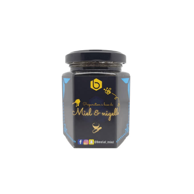 Miel et Nigelle - Miel 100% Naturel de France - 240 gr - Beelal