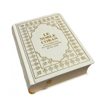 Le Saint Coran - Arabe et Français - Blanc Doré - Format de Poche 13 x 17 cm - Simili-Daim