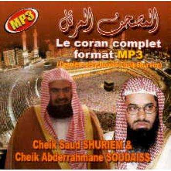 CD MP3 - Le Coran Complet - Cheik Saud Shuriem & Cheik Abderrahmane Soudaiss - CD 208