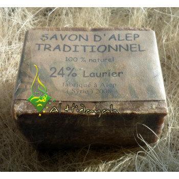Savon d'Alep Traditionnel 100% Naturel à l'Huile d'Olives et 24% de Laurier
