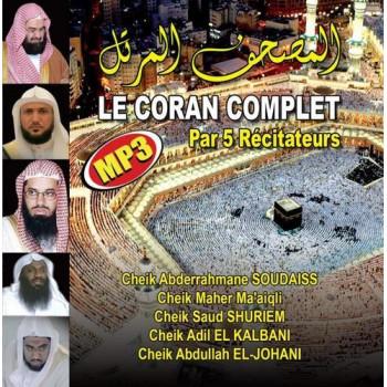 CD MP3 - Le Coran Complet Par 5 Récitateur - Ma'aiqli,Shuriem,Kalbani,Johani,Soudaiss - CD 282