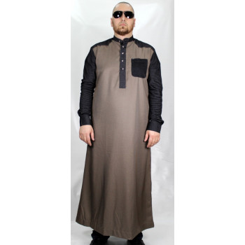 Qamis Marron Afaq - Avec Manche en Strech - Style Haramain ou Daffah - SM1