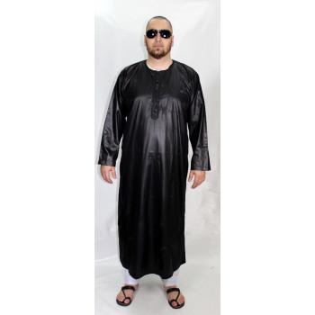 Qamis Noir AFAQ - Manche Longue - Sans Col - Tissu Glacé - 2822