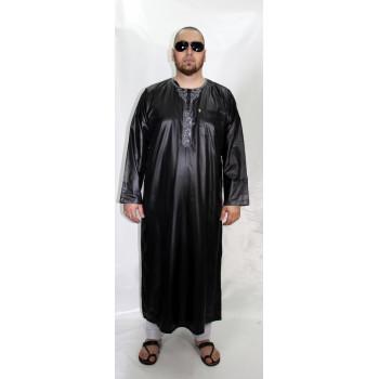 Qamis Noir et Broderie Gris AFAQ - Manche Longue - Sans Col - Tissu Glacé