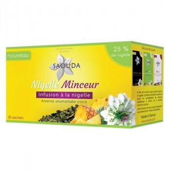 Thé Nigelle Minceur - Infusion Minceur à la Nigelle à l'Ananas Aromatisée Coco - Saouda Nigelle Sativa - 20 Sachets