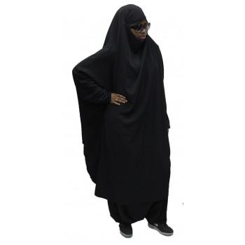 Jilbeb El Bassira - 2 Pièces : Cape + Sirwal - Tissus Wool Peach - n°1 - Noir - 3015