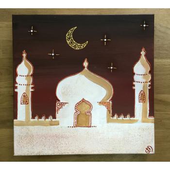 Tableau Toile - Calligraphie Arabe - Moyen Format - Mosquée - 30 x 30 cm