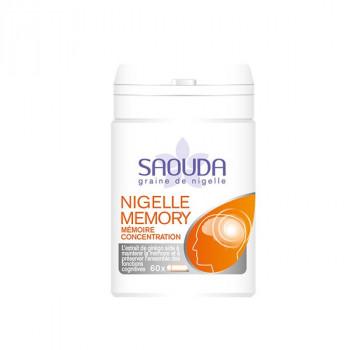 Nigelle et Ginko Memory - Mémoire et Concentration - Gélule de Poudre de Nigelle obtenue par Cryobroyage - 60 Gélules - Saouda