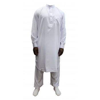 Qamis Pakistanais Blanc - Col et Boutton au Manche avec Pantalon Coupe Droite - Afaq