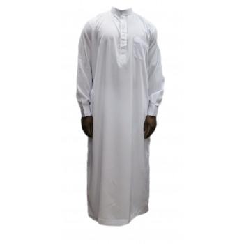 Qamis blanc coupe droite avec pantalon Afaq : bouton col et manches