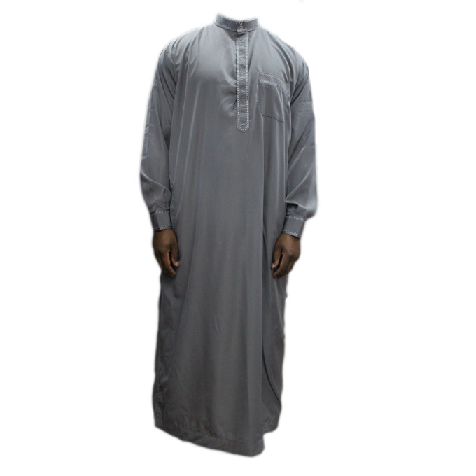 Qamis gris coupe droite avec pantalon Afaq : bouton col et manches