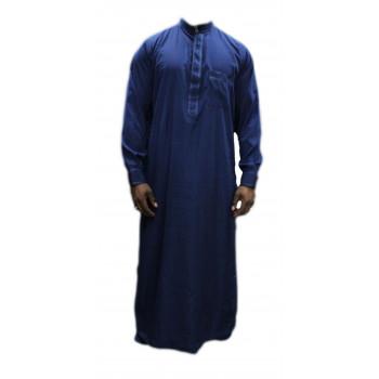 Qamis bleu foncé avec pantalon Afaq : bouton col et manches