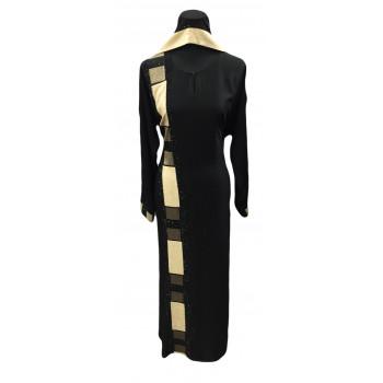 Arbaya Dubaï - Robe Noir - Motif Beige et Doré sur le Long de la Robe et sur les Manches