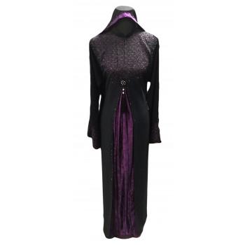 Arbaya Dubaï - Robe Noir - Haut du Bustier Prune et sur le Devant
