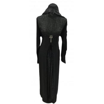 Arbaya Dubaï - Robe Noir - Haut du Bustier Broder et Ton sur Ton