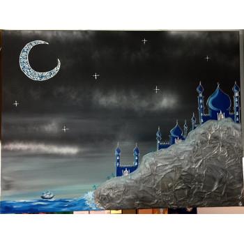 Tableau Toile - Calligraphie Arabe - Très Grand Format - Paysage Mosquée Bleu - 40 x 50 cm