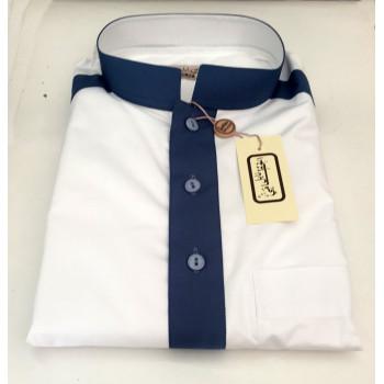 Qamis Blanc et Motif Bleu - Manche Longue - Al Hattami - Arabie Saoudite