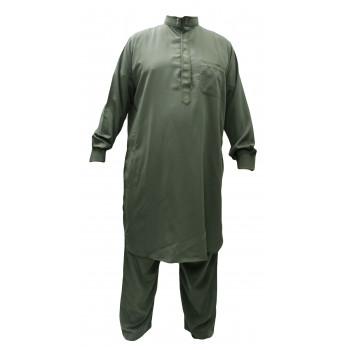 Qamis Pakistanais Vert Sauge - Col et Boutton au Manche avec Pantalon Coupe Droite - Afaq - APV1