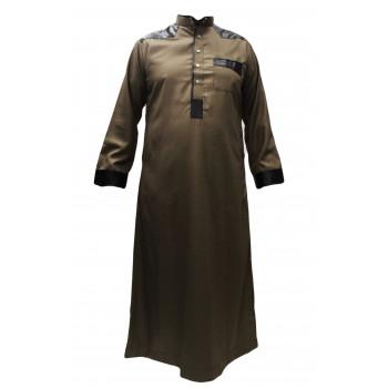 Qamis Marron Afaq - Simili Cuir sur Epaule et Manche - Style Haramain ou Daffah - ACM1