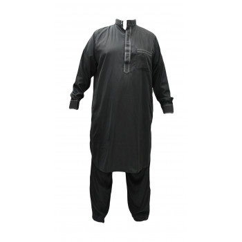 Qamis pakistanais gris avec pantalon Afaq : bouton col et manches