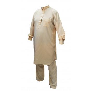 Qamis Pakistanais Beige Crème - Col et Boutton au Manche avec Pantalon Coupe Droite - Afaq - 4239