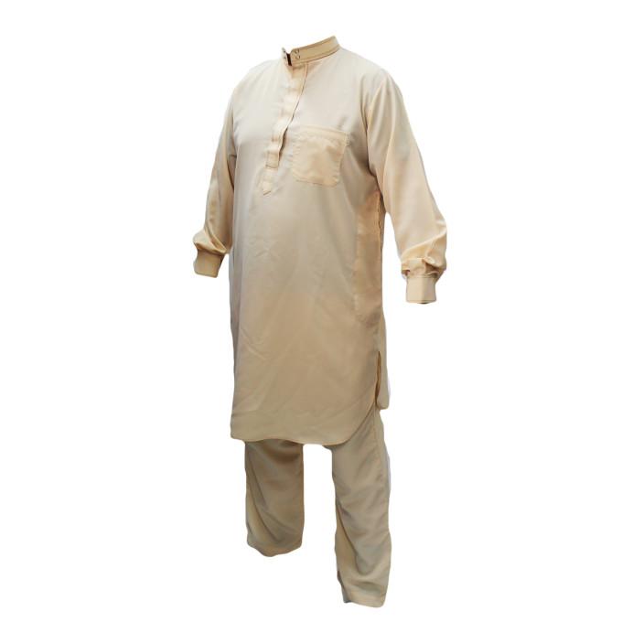 Qamis pakistanais beige avec pantalon Afaq : bouton col et manches