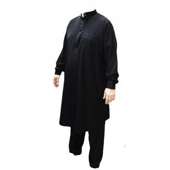 Qamis pakistanais noir avec pantalon Afaq : bouton col et manches