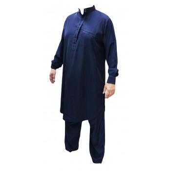 Qamis pakistanais bleu Afaq