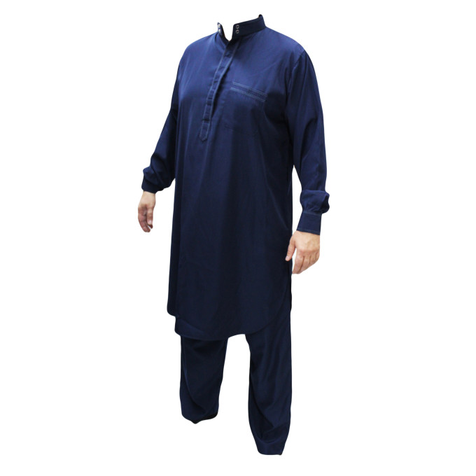 Qamis Pakistanais Bleu - Col et Boutton au Manche avec Pantalon Coupe Droite - Afaq - APB2