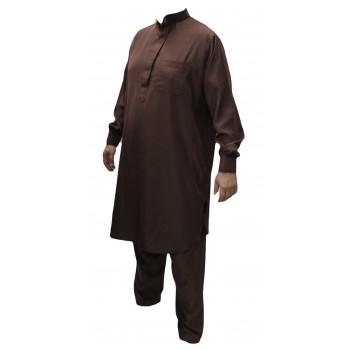 Qamis Pakistanais Marron Chocolat - Col et Boutton au Manche avec Pantalon Coupe Droite - Afaq - 4273