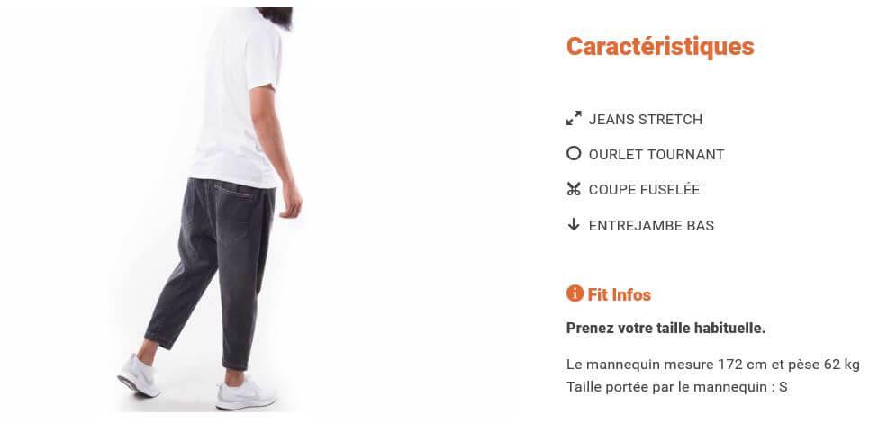Caractéristique Saroual Jeans Timssan
